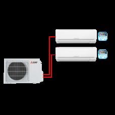 Mitsubishi мульти сплит система MSZ-HJ25VA ER1*2 + MXZ-2HJ40VA ER1 на две комнаты по 25м2